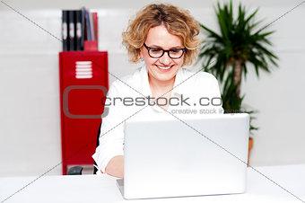 Beautiful woman working in labtop