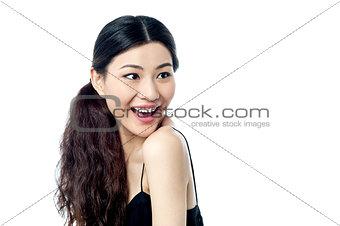 Amazed young chinese female model