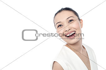 Beautiful woman with wide smiling