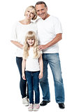 Happy family isolated on white