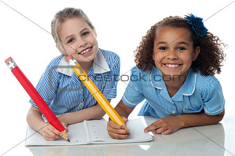 Kids writting their assignment