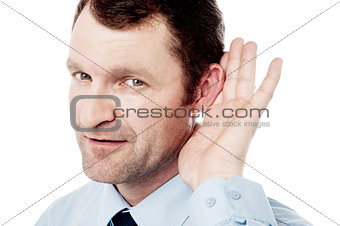 Corporate executive hold hand near ear