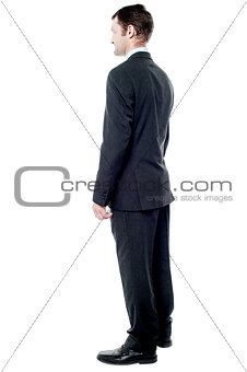 Back view of middle aged business man