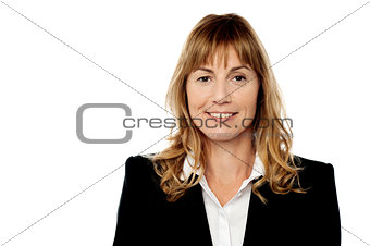 Corporate woman portrait, isolated on white