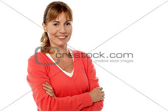 Beautiful woman with folded arms
