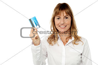 Smart business lady holding credit card