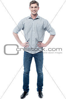 Casual young man isolated on white