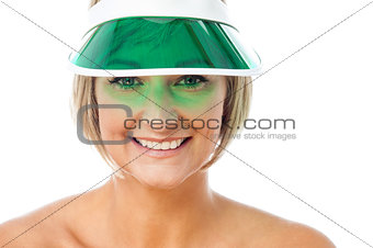 Attractive lady wearing cap