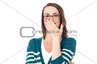 Beautiful caucasian woman chuckle