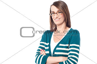 Beautiful smiling aged woman in casuals