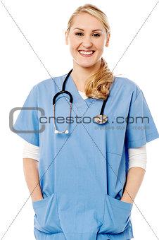 Beautiful smiling nurse isolated on white