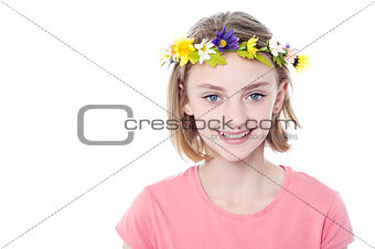 Beautiful girl wearing flower crown