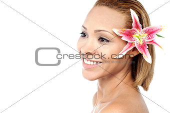 Beautiful woman with lilly flower