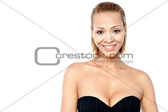 Beautiful woman posing in black bra