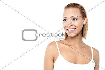 Beautiful fashionable model looking away