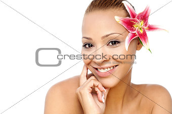 Beauty face of the young woman