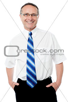 Smiling businessman isolated over white