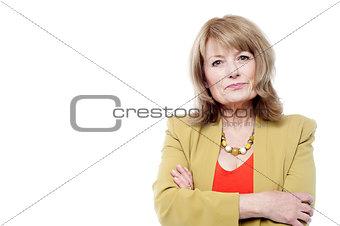 Beautiful aged woman in trendy wear
