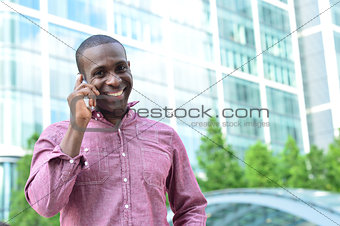 Casual male talking on mobile phone