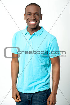 Casual man posing on grey background