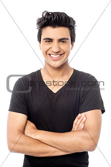 Smart smiling man posing with confidence