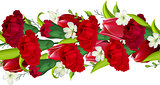 Seamless horizontal border with carnations and tulips