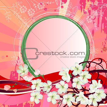 Background with blossoming branch of tree