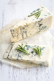 Roquefort on the wooden board