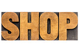 shop word in wood type