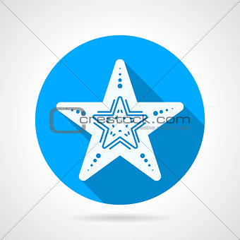 Flat round vector icon for starfish