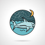 Night seascape flat design vector icon