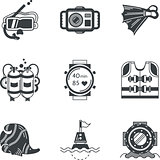 Diving objects black vector icons