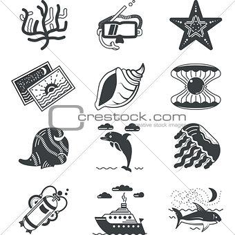 Black monochrome marine vector icons