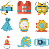 Flat color style diving vector icons
