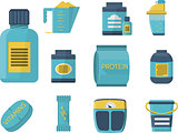 Sport supplements flat blue vector icons