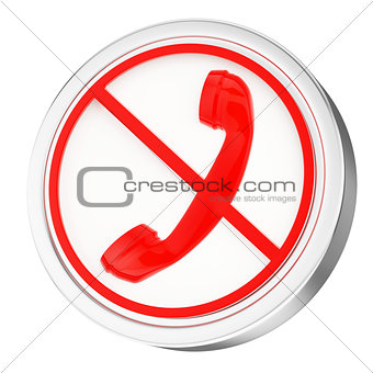 3D phone icon, button, red glossy circle, stop call