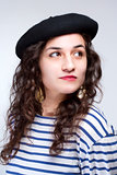 Woman with French Style Beret Hat and Striped T-shirt