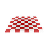 Empty chess board in red and white design