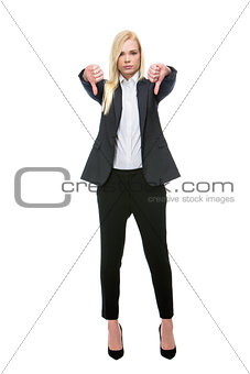 blonde businesswoman thumbs-down