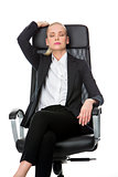 businesswoman relaxing on a chair