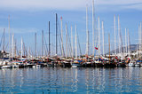 Boats and yachts at sea port in Bodrum