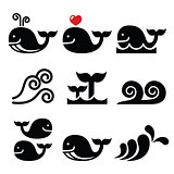 Whale, sea or ocean waves icons set