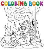 Coloring book scout boy theme 1