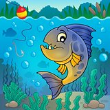 Piranha fish underwater theme 2