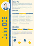 Modern resume cv with shadow design