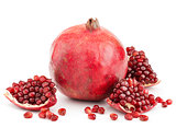 pomegranate with pieces and grains isolated