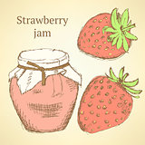 Sketch strawberries and jar in vintage style