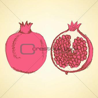 Sketch tasty pomegranates in vintage style