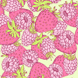 Sketch strawberry and raspberry in vintage style