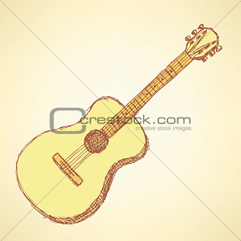 Sketch guitar musical instrument in vintage style